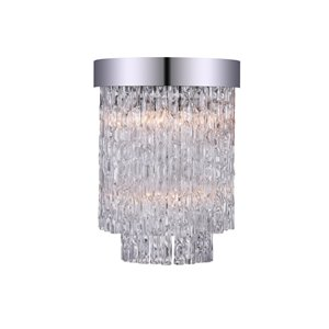 CWI Lighting Carlotta Wall Sconce - 2-Light - 8-in - Chrome