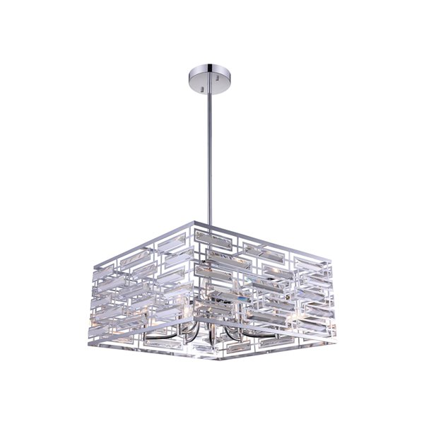 CWI Lighting Petia Drum Shade Chandelier - 8-Light - 21-in - Chrome
