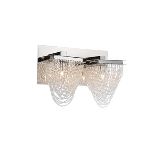 CWI Lighting Finke Wall Sconce - 2-Light - 14-in - Chrome