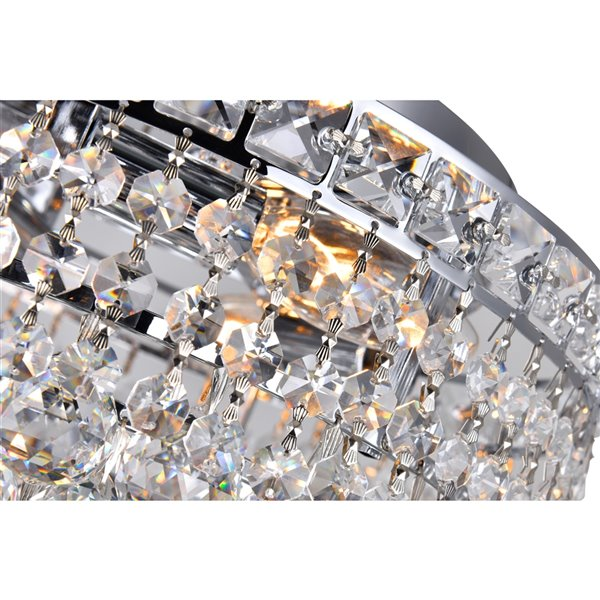 CWI Lighting Luminous Flush Mount Light - 3-Light - 12-in - Chrome