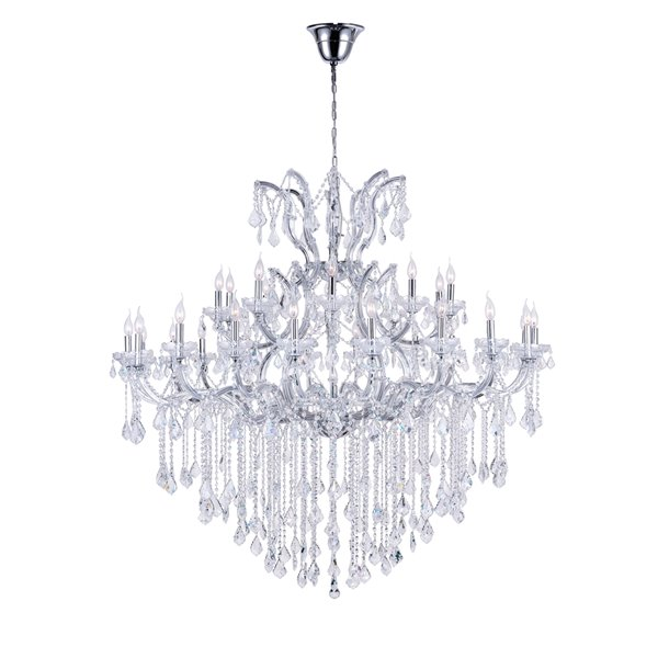 CWI Lighting Maria Theresa Chandelier - 31-Light - 60-in - Chrome