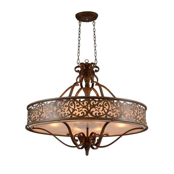 CWI Lighting Nicole Drum Shade Chandelier - 6-Light - 24-in - Brushed Chocolate