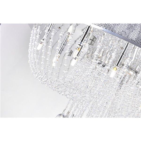 CWI Lighting Waterfall Flush Mount Light - 19-Light - 24-in - Chrome