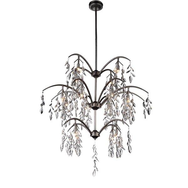 CWI Lighting Napan Chandelier - 16-Light - 36-in - Silver Mist