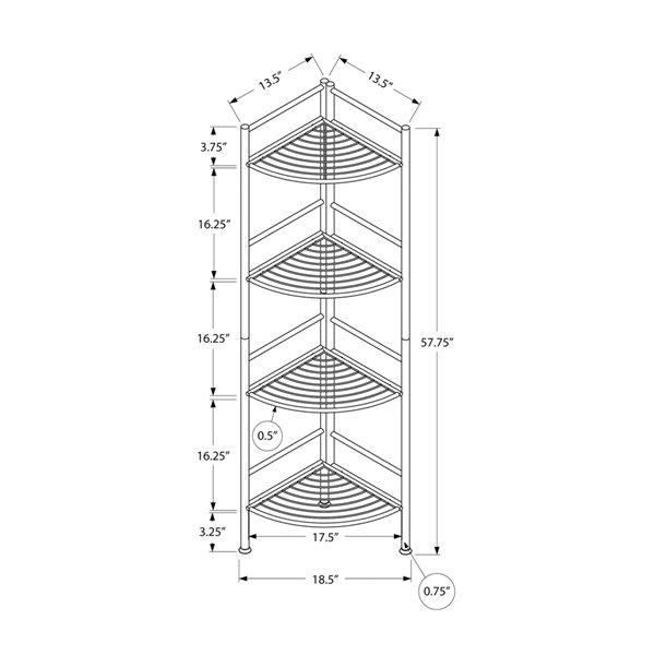 Bibliothèque étagère Monarch Specialties blanche et métal blanc, 62 po H