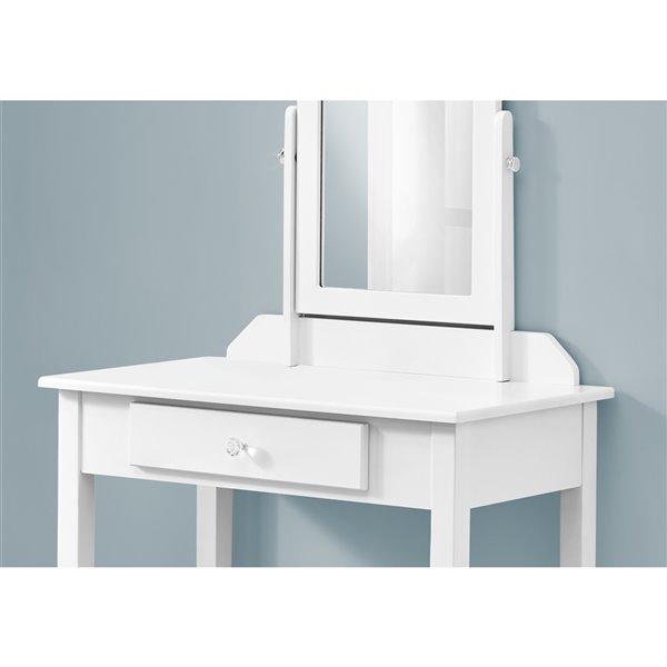 Coiffeuse avec miroir et tiroir de rangement Monarch Specialties, blanche