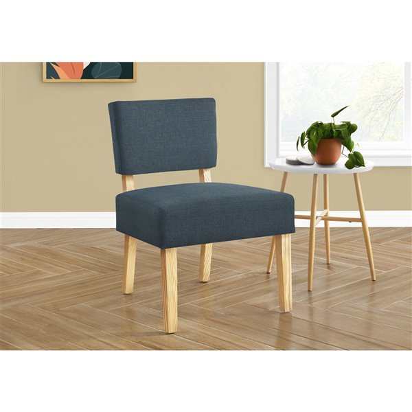 Monarch Specialties Accent Chair - Blue Fabric and Natural Wood Legs