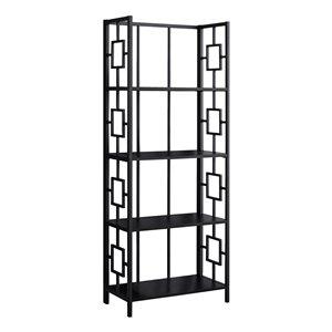 Bibliothèque étagère Monarch Specialties, noir et métal noir, 62 po H