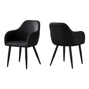 Chaise salle à manger Monarch Specialties en similicuir noir et métal, 33 po H, ens. de 2