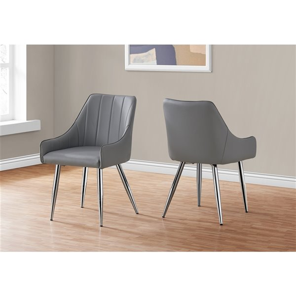 Monarch Specialties Dining Chair Grey Leather Look and Chrome - 33-in H - Set of 2