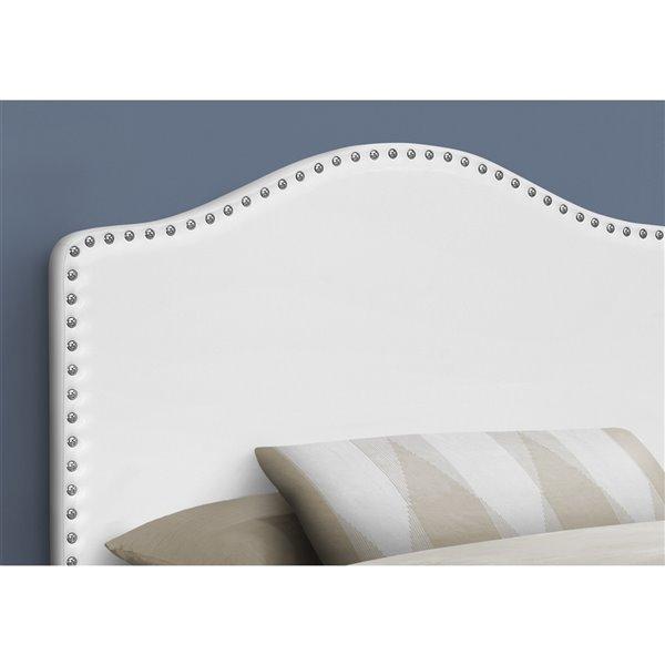 Tête de lit Monarch Specialties en similicuir blanc, simple