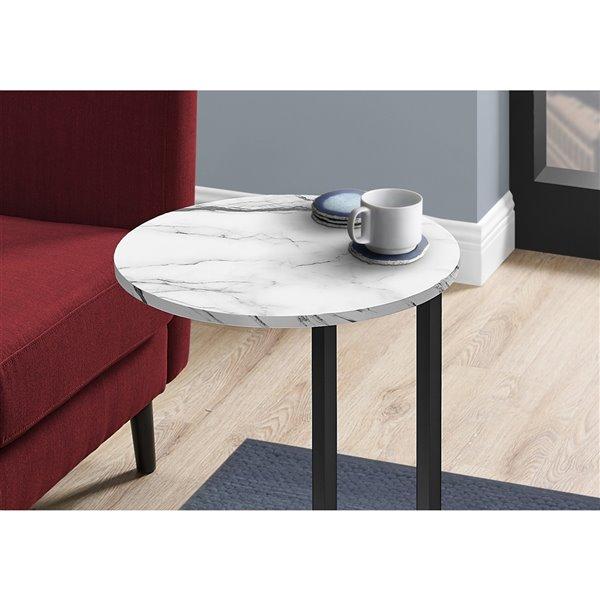 Table d'appoint Monarch Specialties, imitation de marbre blanc et métal noir, 24 po H