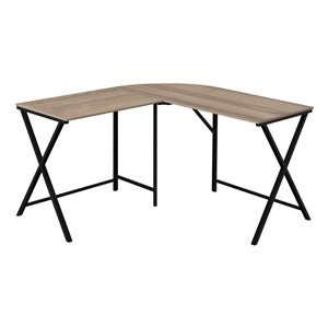 Monarch Specialties L Shaped Corner Computer Desk Dark Taupe Top and Black Metal - 55-in L