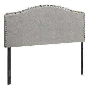 Tête de lit Monarch Specialties en tissu gris, grand lit