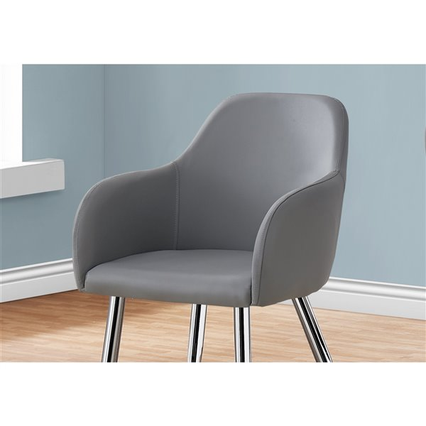 Monarch Specialties Dining Chair Grey Leather Look with Chrome - 33-in H - Set of 2