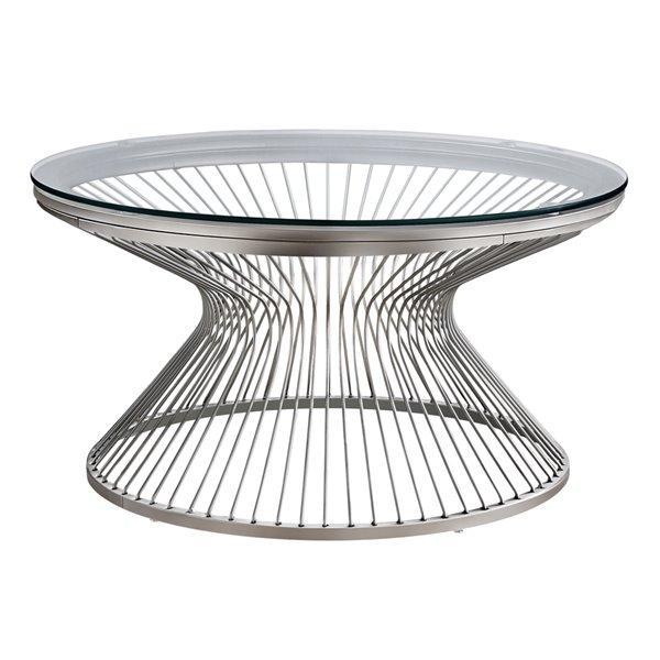 Table de salon Monarch Specialties en acier inoxydable et verre trempé, 36 po