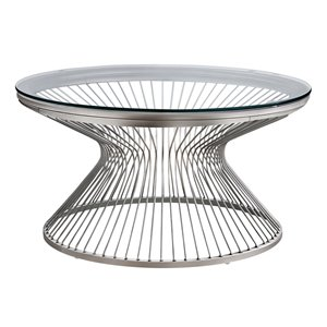 Monarch Specialties Coffee Table - Stainless Steel with Tempered Glass - 36-in