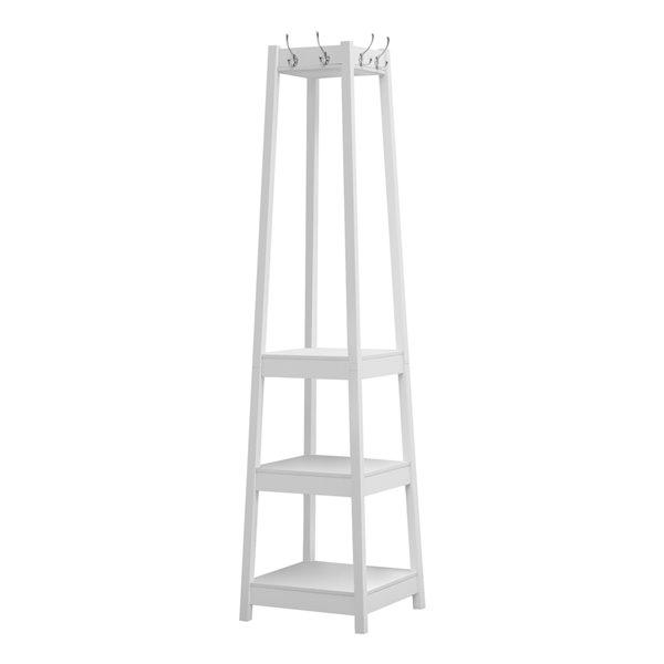 Monarch Specialties Corner Coat Rack with 3 Shelves - White - 72-in H
