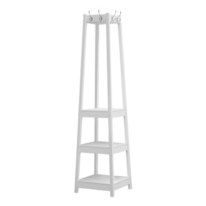 Monarch Specialties Corner Coat Rack with 3 Shelves - White - 72-in H