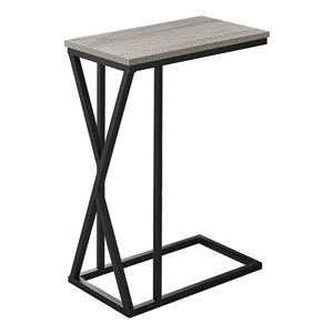 Monarch Specialties Accent Table - Grey Finish and Black Metal - 25-in H