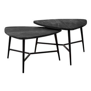 Tables d'appoint Monarch Specialties en bois récupéré noir et métal noir, ens. de 2
