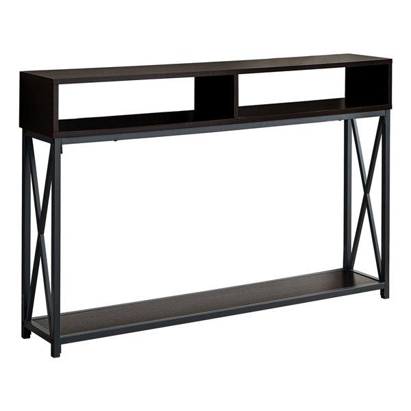 Monarch Specialties Console Table in Espresso  and Black Metal - 48-in L