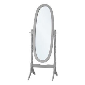 Miroir décoratif ovale Monarch Specialties avec contour en bois massif, gris, 59 po H