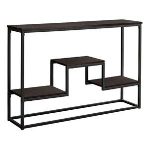 Monarch Specialties Console Table in Espresso and Black Metal  - 48-inL