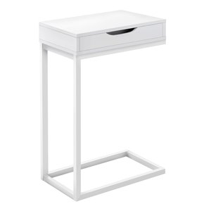 Monarch Specialties Accent Table with 1 Drawer - White Finish and White Metal