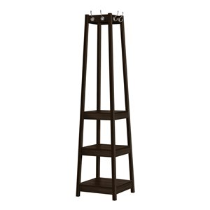 Monarch Specialties Corner Coat Rack with 3 Shelves - Espresso - 72-in H