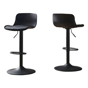 Monarch Specialties Barstool with Hydraulic Lift - Black and Black Metal - Set of 2