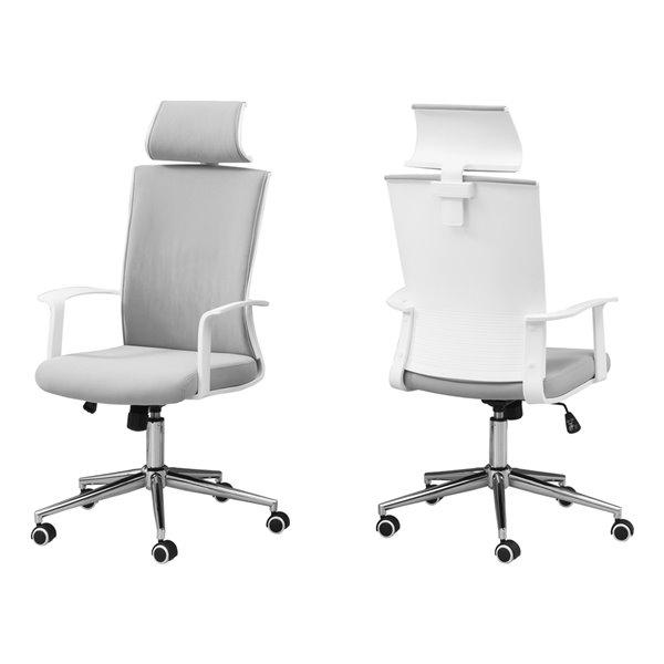 Chaise de bureau Monarch Specialties avec dossier exécutif, hauteur du siège réglable, blanc et tissu gris