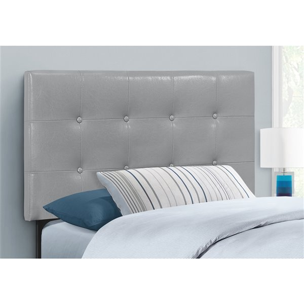Tête de lit Monarch Specialties en similicuir gris, simple