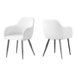 Monarch Specialties Dining Chair White Leather Look and Chrome - 33-in H - Set of 2