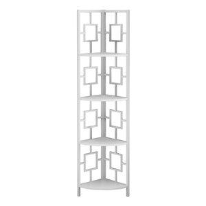 Bibliothèque étagère Monarch Specialties de style échelle avec 4 tablettes, blanche, 60 po H