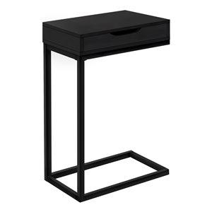 Table d'appoint Monarch Specialties avec tiroir, fini noir et métal noir