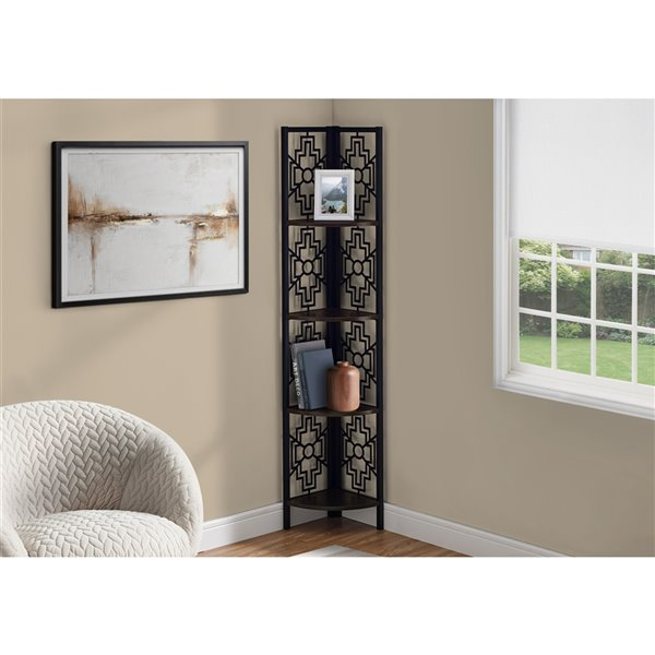 Monarch Specialties Bookcase Etagere - Espresso and Black Metal - 62-in H