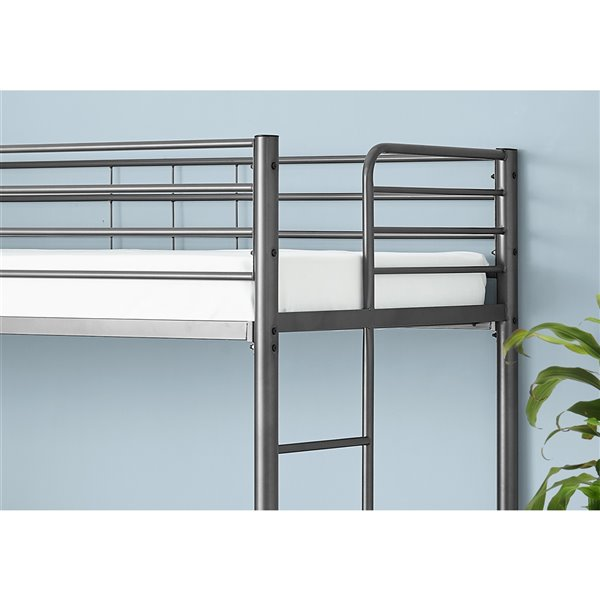 Monarch Specialties Bunk Bed - Grey Desk and Grey Metal - Twin and Full Size