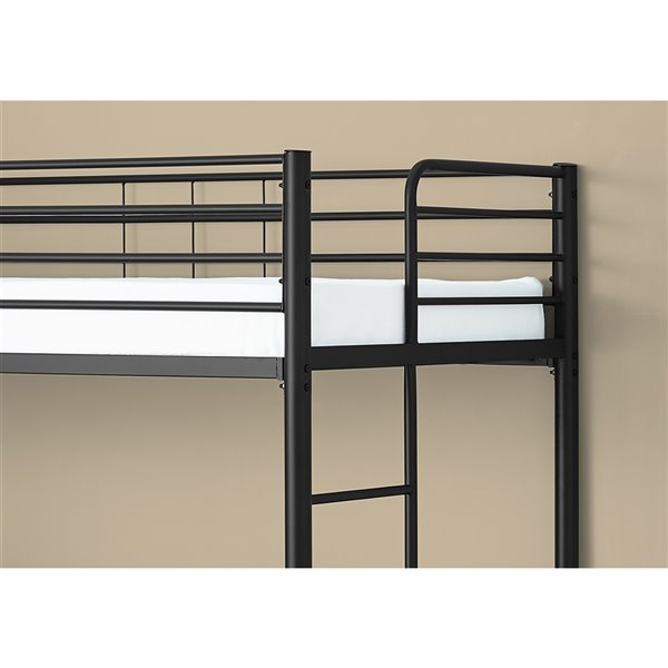 Monarch Specialties Bunk Bed - Taupe Desk and Black Metal - Twin / Full Size