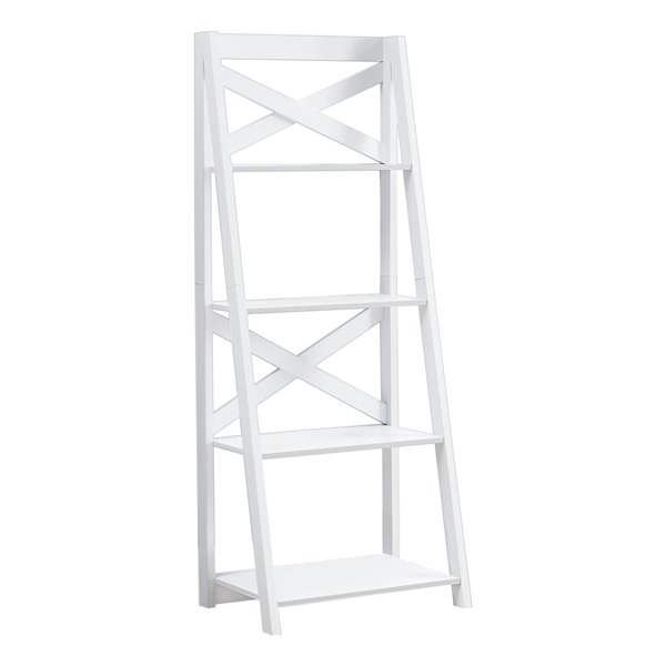 Monarch Specialties Bookcase Ladder Style - Grey and Black Metal - 60-in H