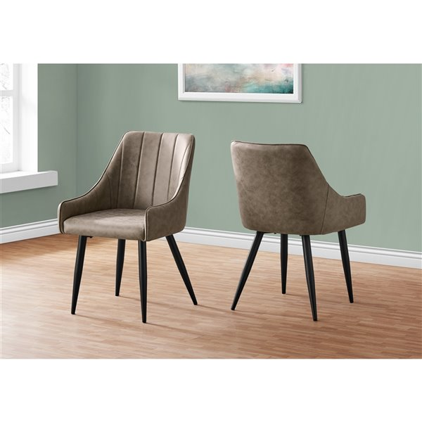 Monarch Specialties Dining Chair Taupe Fabric and Black Metal - 33-in H - Set of 2