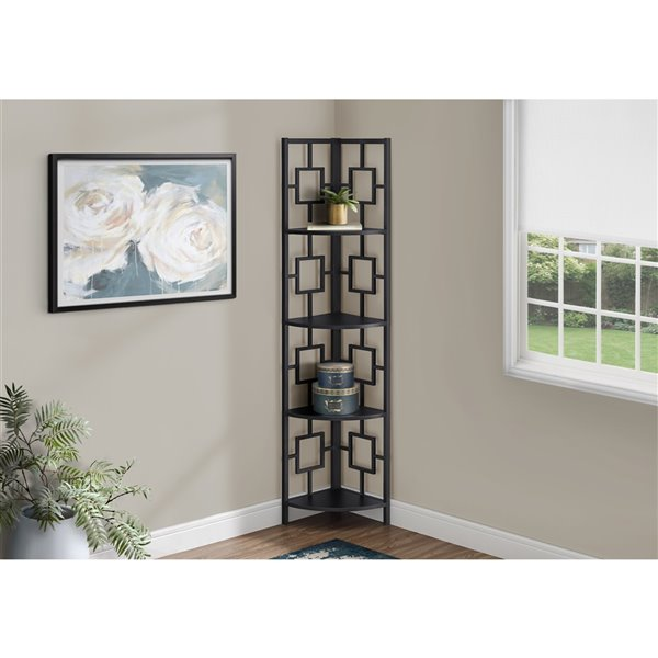 Monarch Specialties Corner Bookcase Brown Reclaimed Wood Look and Black Metal - 60-in H
