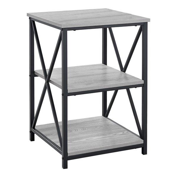 Table d'appoint Monarch Specialties au fini gris et métal noir, 26 po H