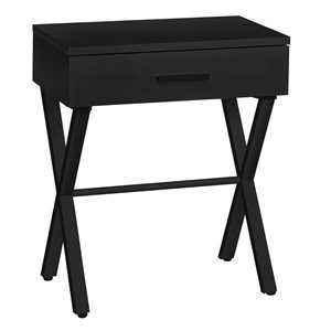 Monarch Specialties Accent Table - Black Finish and Black Metal - 24-in H