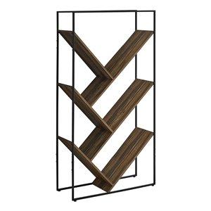 Bibliothèque étagère Monarch Specialties, aspect bois recyclé brun et métal noir, 60 po H