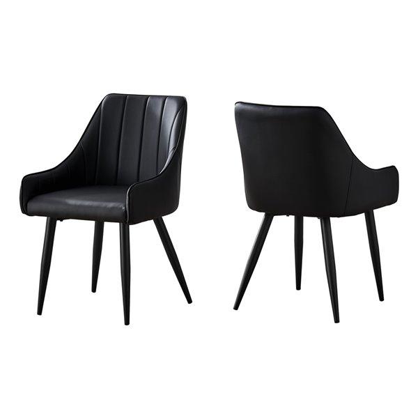 Chaise salle à manger Monarch Specialties en similicuir noir et métal noir, 33 po H, ens. de 2