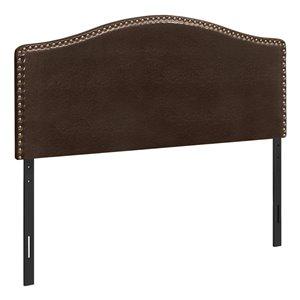 Tête de lit Monarch Specialties en similicuir brun, grand lit