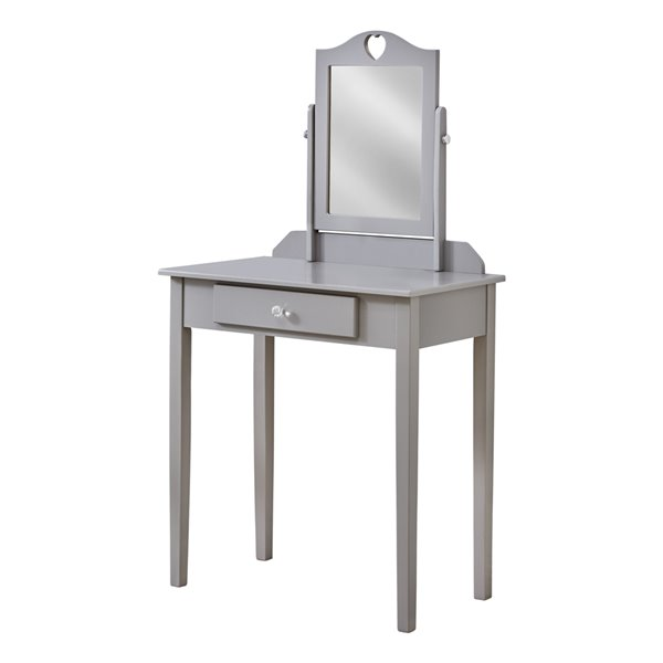Coiffeuse avec miroir et tiroir de rangement Monarch Specialties, grise