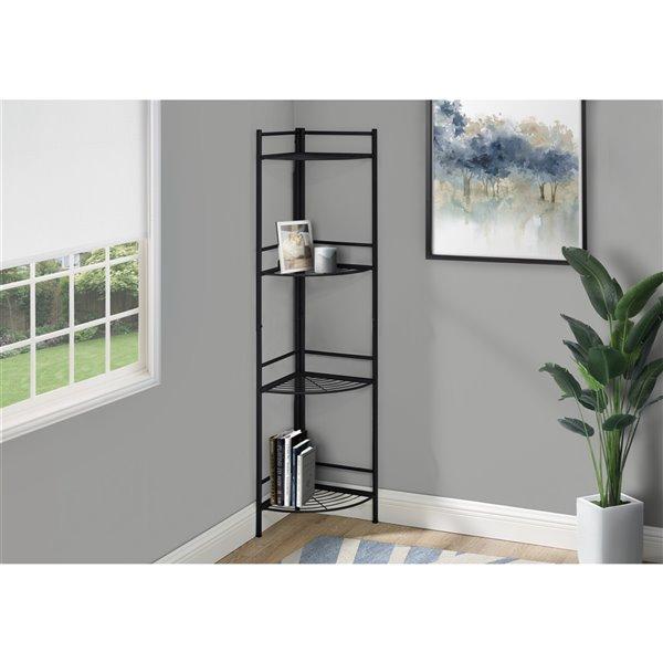 Monarch Specialties Corner Bookcase Etagere - Espresso and Black Metal - 62-in H