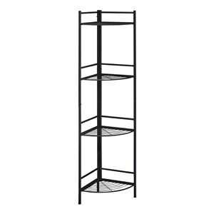 Monarch Specialties Corner Bookcase Etagere - Espresso and Black Metal - 62-in H